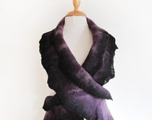Hand felted scarf purple lilac and black merino wool