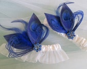 Blue BUTTERFLY Wedding Garter Set, Royal Blue Garters, Peacock Garters, White Bridal Garter, Something Blue Garter