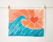 Surf Art Print - Beach Art - Wave Art - Coral and Aqua - Hearts - Sunrise - Kitchen Art - Bathroom Art