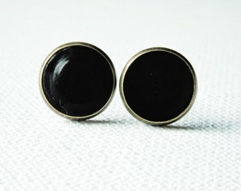Black Earrings, Black Studs, Black Posts, Black Stud Earrings