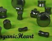 "Hematite Double Flare Plugs 6g-1"" (Sold as Pair) Handmade Jewelry Plugs (6g, 4g, 2g, 0g, 00g, 7/16"", 1/2"", 9/16"", 5/8"", 3/4"", 7/8"", 1"")"