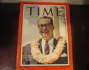 Collectible Time Magazine August 10, 1959 Hawaii First Governor Quinn Cover Good - Very Good Condition Great Ads