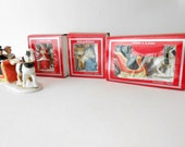 reserved Julie  vintage porcelain Christmas village figurines porcelain  carolers porcelain horse and sleigh in box