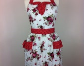 Retro apron with curved ruffle, dark red roses on a white fabric, fully lined.