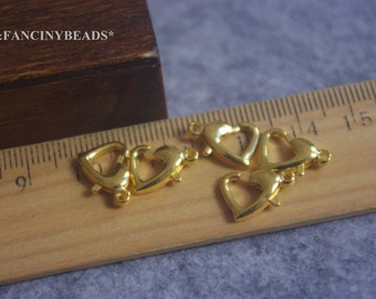 10 pcs gold tone unique heart shaped lobster claw-F264