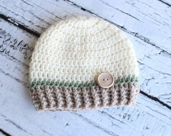 Crochet Hat With Wooden Button. Off White, Green and Tan