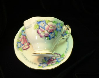 Royal Albert Malvern Shaped Pink and Blue Floral Cup and Saucer