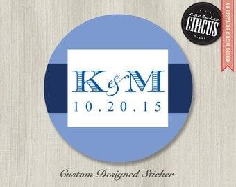 Custom Wedding Stickers - Elegant Classic Initials