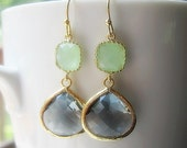 Gray & Mint Drop Earrings / Glass Dangle / Teardrop Earrings / Bridesmaids / Wedding / Bridal Party / 14K Gold Filled Wire / Gold / Gift