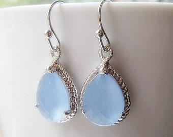 Powder Blue Teardrop Earrings / Periwinkle / Glass Dangle / Teardrop / Bridesmaids / Wedding / 14K Gold Filled Wire / Something Blue