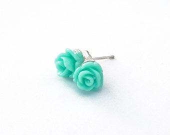 TEAL BLUE ROSE Mini Flower Stud Earrings
