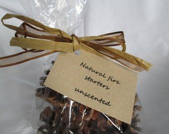 6 pine cone fire starters - natural unscented - double dipped