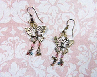 Vintage Bronze Butterfly Dangle Earrings - BUT-67 - Boho Vintage Earrings