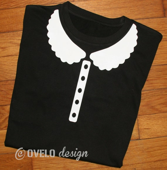 Prim and Proper Women's cut T-shirt Faux Peter Pan Collar with Faux Pearl Buttons
