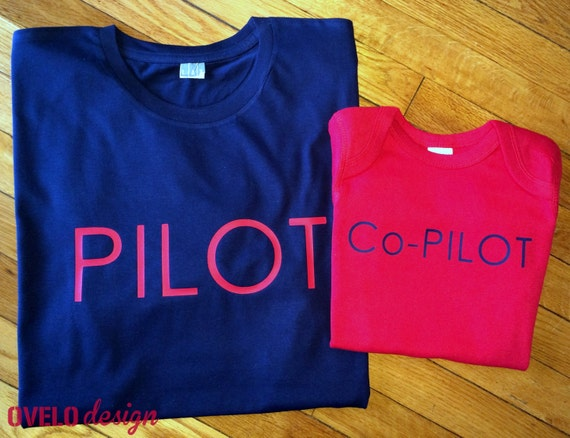 Pilot Co-Pilot set Daddy and Son Perfect Fathers Day or New Dad Gift Pick Your Colors