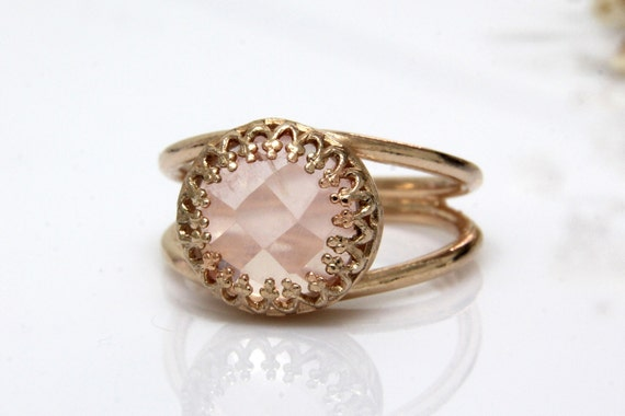 Rose quartz ringrose gold ringlove stone ringgirlfriend