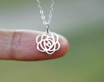 Tiny Sterling Silver Rose Necklace, bridesmaid gift, wedding, bridal, simple, everyday