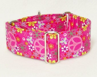 Martingale Collar, Peace Signs, Pink Floral, Galgo Collar, Greyhound Martingale, Hippie Collar, Pink Collar