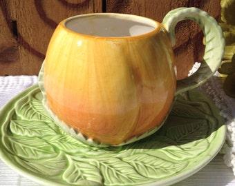 Vintage Demitasse Peach Tea Cup Figural Majolica Style Orange & Green Demi Teacup - #1848