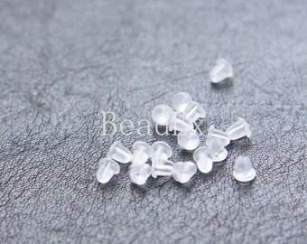 200 Pieces / Rubber Earnut Backings / Plastic Backings / Earring Backing 4mm (C371//I177)