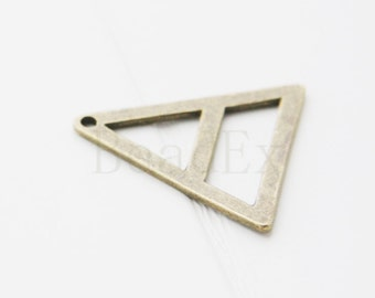 10pcs / Triangle / Antique Brass Tone / Base Metal / Charm 29mm (Y25795//E241)