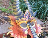Greater Fire Dragon Leather Mask Made to Order Great for Halloween Burning Man Masquerade Costume LARP Cosplay Mardi Gras