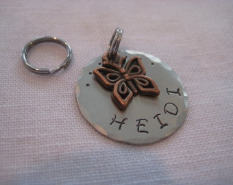 Pet ID Tag- Brass Butterfly Charm On Hammered Disc