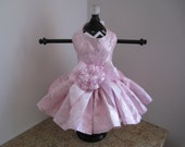 Dog Dress XS  Pink with Silver Roses  By Nina's Couture Closet