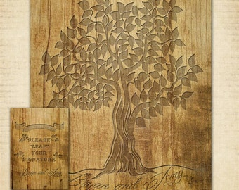 "Wood Carved Wedding Tree Poster | Guest Book Signature Tree | 16"" x 20"" 