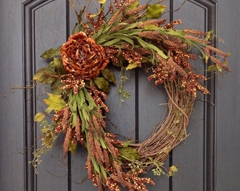 Fall Wreath Autumn Wreath Thanksgiving Brown Berry Branches Twig Grapevine Door Wreath Decor Use Year Round Brown Peony Floral Decoration