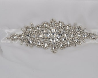 Connie-Vintage Style Rhinestone Crystals Wedding Belt, Sash