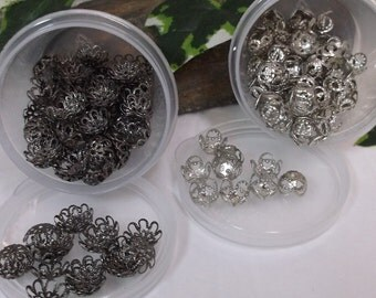 223 Gun Metal And Silver Filigree  Bead Caps In Containers