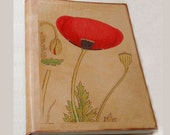 Red Poppy large leather journal