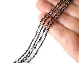 Chain : Petite Gunmetal Rolo Chain / Black Cross Chain - 2mm x .7mm ... SOLD PER 16 FEET ... Lead, Nickel & Cadmium Free 54923