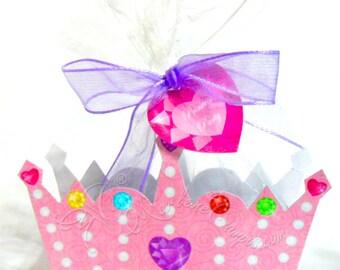 Princess Tiara Favor Box, Princess Crown Box, PINK Crown, treat box, Printable box, party favor, birthday favor, printable favor box