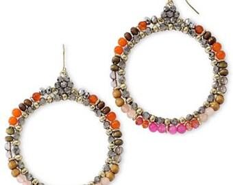 Hot Pink and Orange Hoop Earrings