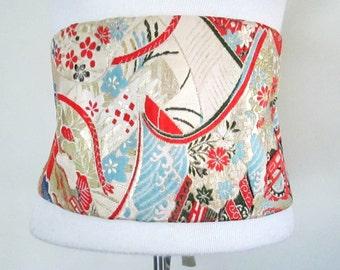 Mid Century Vintage Obi Sash Belt Authentic Asian Japanese Silk Brocade 1950s 1960s