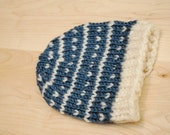 Blue with white snowflakes baby beanie, hand knit baby hat