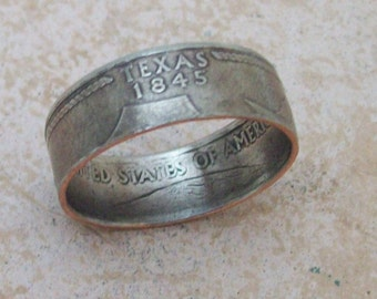 Copper Nickle TeXas State Hood Quarter Ring BiRTHDaY GiFT or SouVeNiR From Your Travles You Pick The Size 5-10 ALL 50 States Available