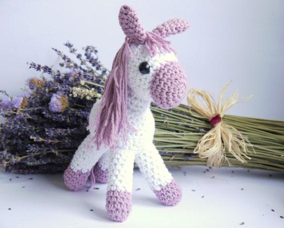 Amigurumi Crochet Pony. Lilac and White Cotton Yarn. Perfect