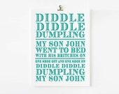 Diddle Diddle Dumpling Nursery Rhyme Wall Art // Children's Art Print // kids wall art // Children's nursery art // Nursery Rhyme Wall art