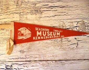 Vintage Felt Souvenir Pennant - Kennebunkport,ME- Seashore Trolley Museum - Mini Pennant