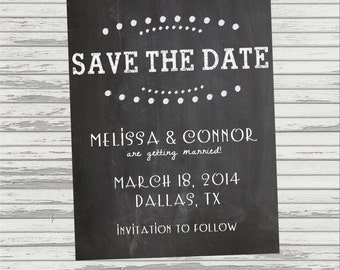 Chalkboard SAVE THE DATE for Wedding - Small Invitation - Printable