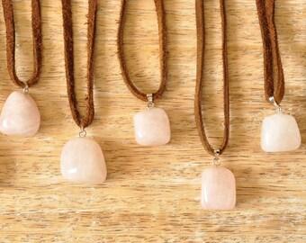 Rose Quartz Gemstone Suede Necklace