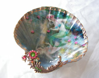 A Mermaids Reflections Large Shell Jewelry Dish Ring Dish