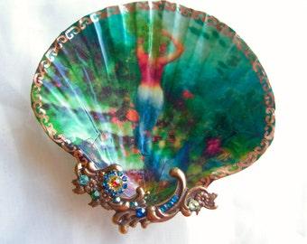 Siren Of The Sea Beautiful Mermaid Large Shell Jewelry Dish