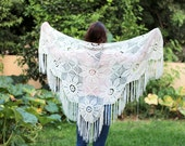 Crocheted -Off White-Cream Wraps Shawl,Evening Off White shawl, Off white dress, extra large shawl