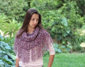 Knit hood cowl, hooded neck warmer with fringes