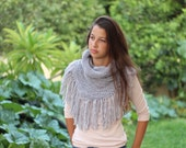 Gray Knit Neck Warmer, Gray Hooded Cowl, Handmade Cowls for Women