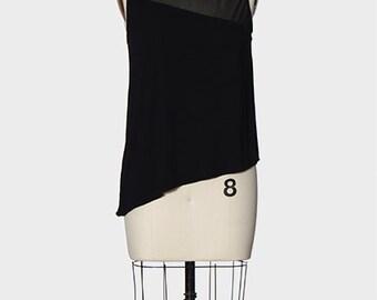 Luxurious Black Bamboo with Silk Mesh Yoke Asymmetrical Top by evyie